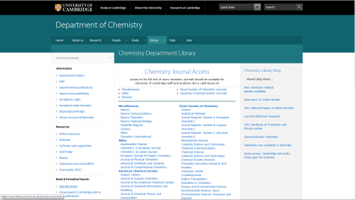 journal access web page screenshot
